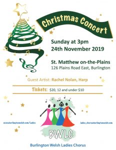 Burlington Welsh Ladies Chorus Christmas Concert poster