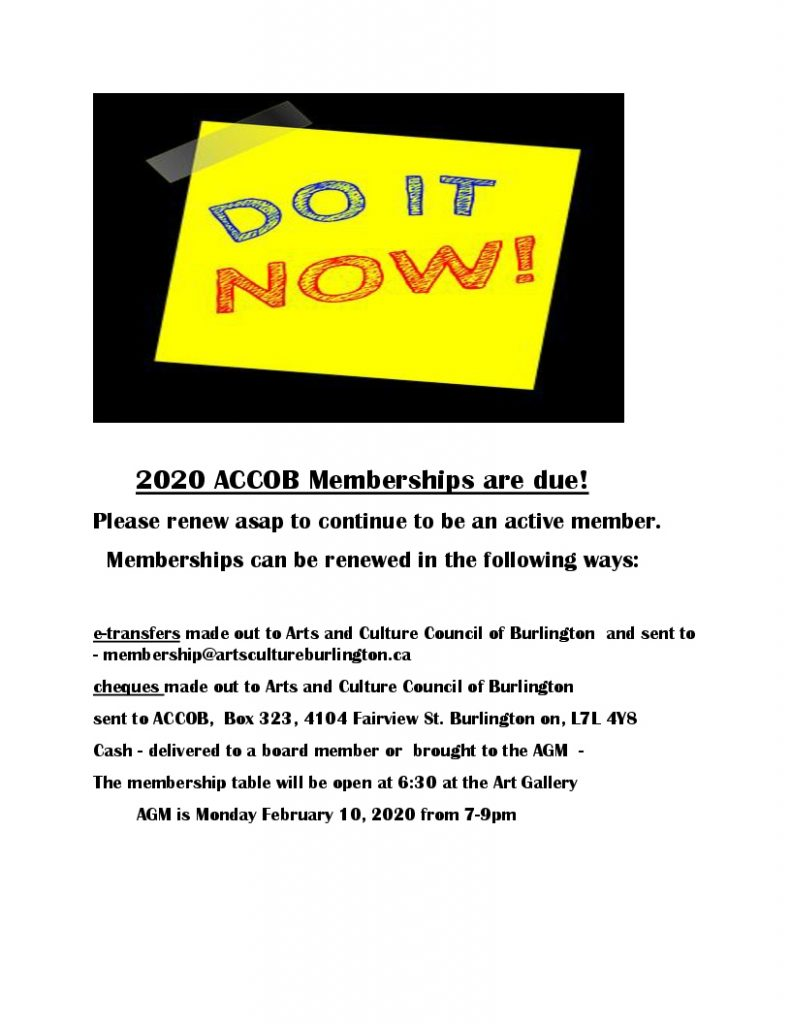 2020 ACCOB Memberships are due notice