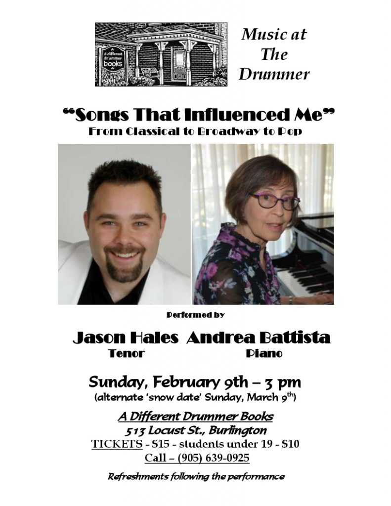 Music at The Drummer performed by Jason Hales - Tenor & Andrea Battista - Piano