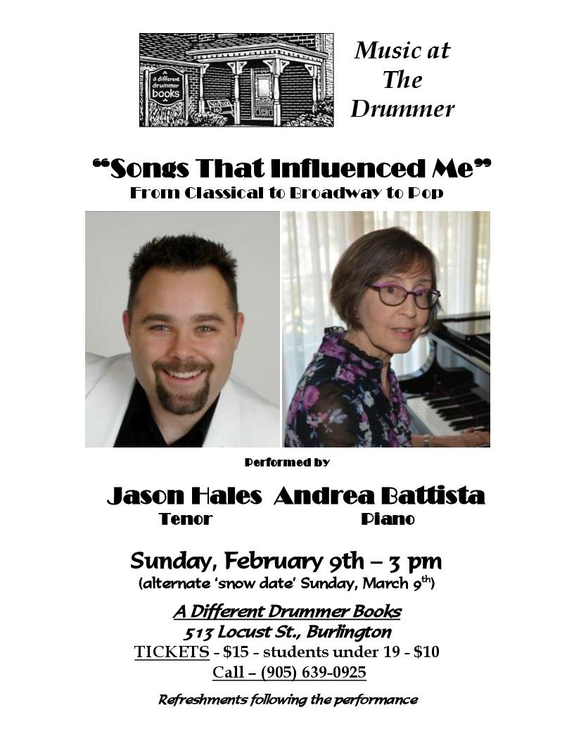 Music at The Drummer performed byJason Hales - Tenor & Andrea Battista - Piano