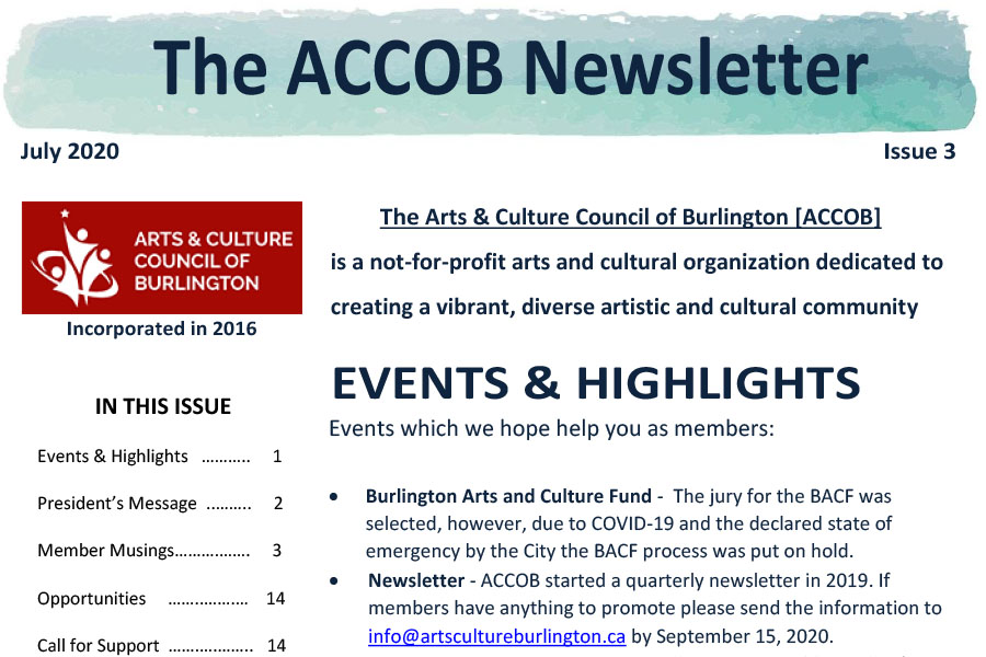 Arts Culture Burlington July 2020 Newsletter