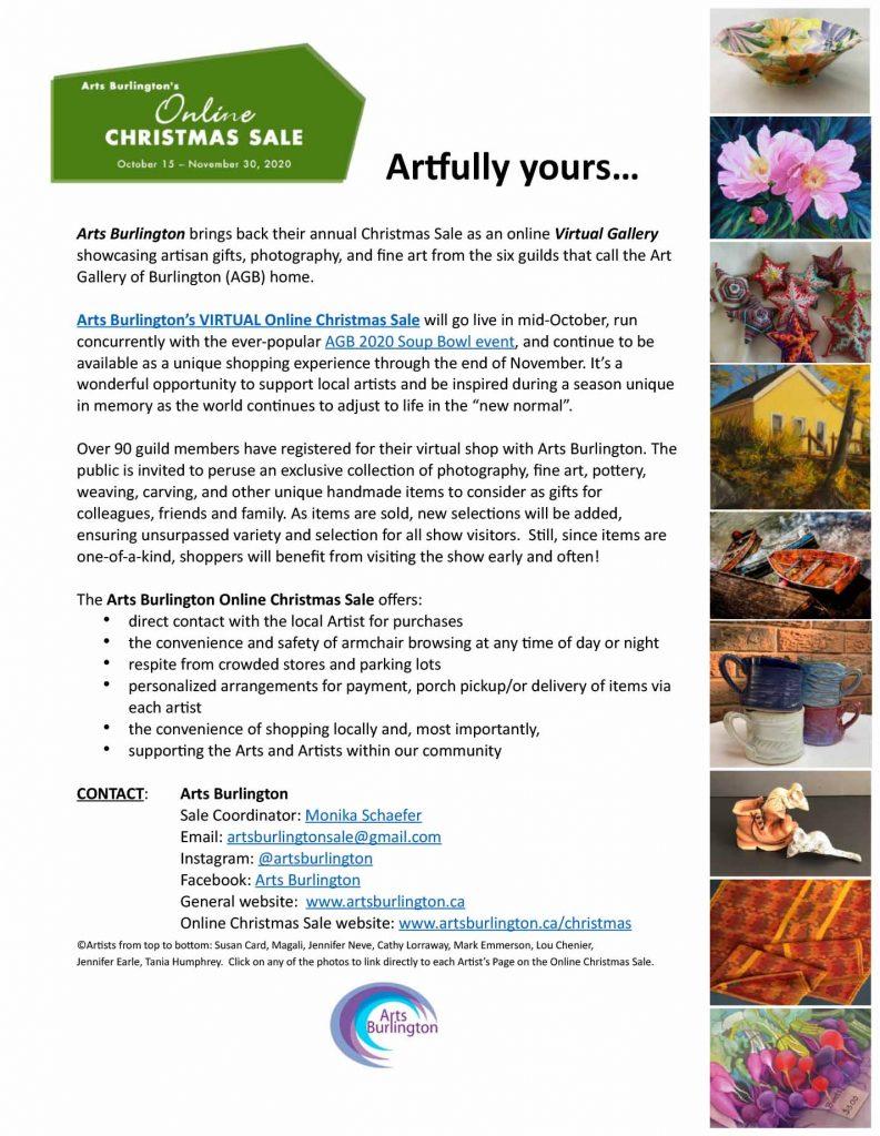Arts Burlington 2020 Christmas Sale online Virtual Gallery.
