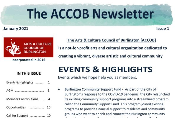 Arts Culture Burlington January 2021 Newsletter