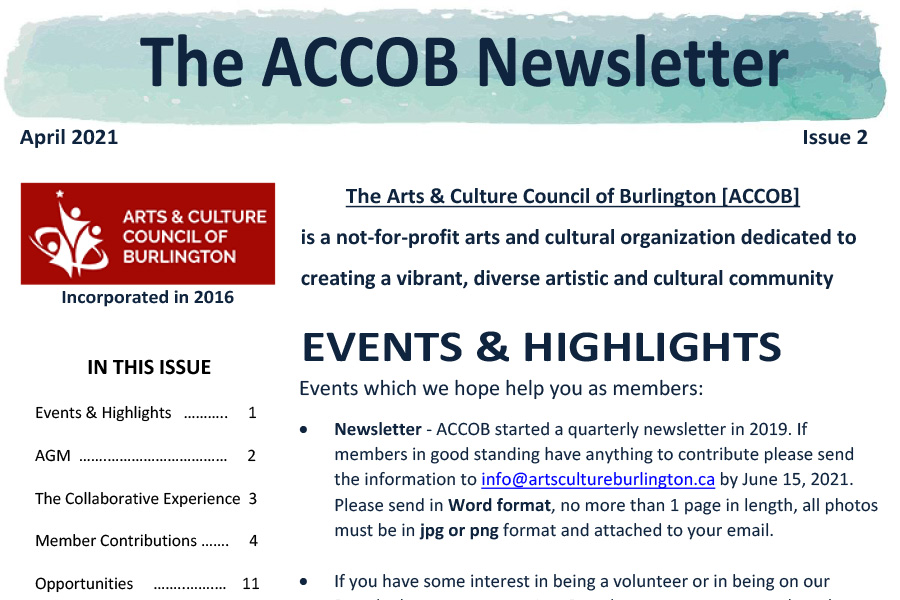 Arts and Culture Council of Burlington January 2021 Newsletter